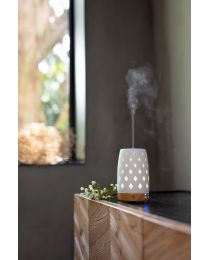 Aroma diffuser 90mm- diamond whtie w/ lightwood base