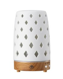 ultrasonic diffuser 90mm- diamond whtie w/ lightwood base